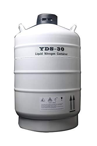 CGOLDENWALL Kryogene Container Liquid Stickstoff LN2 Tank 2L-35L Kapazität Optional Flüssigstickstofftank Tragbares Gehäuse aus Aluminiumlegierung für Flüssigkeitsbehälter (30L)