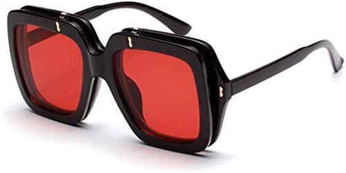 Squash bril Flip-over Double-layer Zonnebrillen Kleur Transparant Groot-frame zonnebril Vrouwen UV-bescherming kan zijn Secondhand for Drive Vissen Outdoor Klimmen Outdoor bril (Color : Red)
