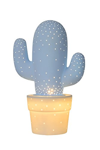 Lucide CACTUS - Lampe De Table - Ø 20 cm - Bleu Pastel