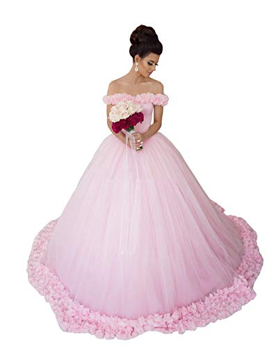 Ai Maria Women's Off Shoulder Quinceanera Dress A-line Wedding Dresses Evening Gowns Light Pink