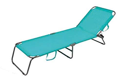 Tumbona Plegable y Reclinable para Playa y Piscina con Bandolera para Transportar (Turquesa)