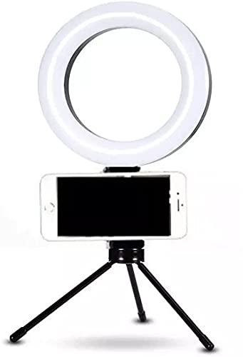 Ring Light 16cm com Suporte Para Celular e Tripé de Mesa; Iluminação Para Maquiagem Fotos Vídeos - Bella Net