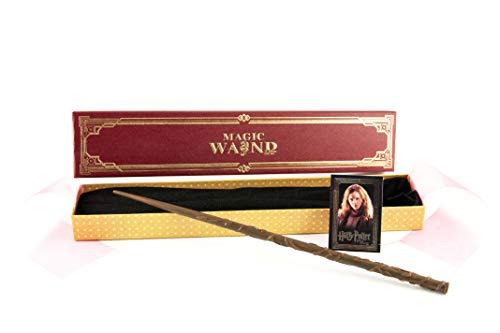 Hermione GRANGERS Varita mágica - Premium Paquete y Varita - Harry Potter y Personajes de Animales fantásticos - Pintado a Mano - Núcleo de Metal Duradero - 40 cm