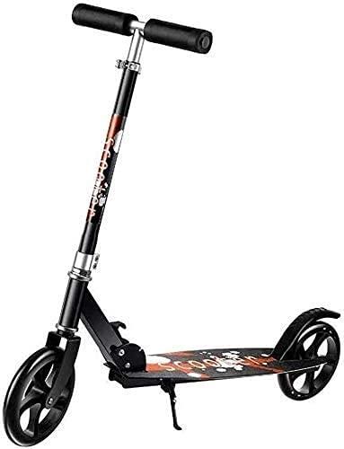 monopatín Patinete Scooter de Patada Plegable con Ruedas Grandes de PU 200M   Scooter Urbano Ajustable de Hight-Ajustable, Scooter de Calle Ligera (Color : Black)