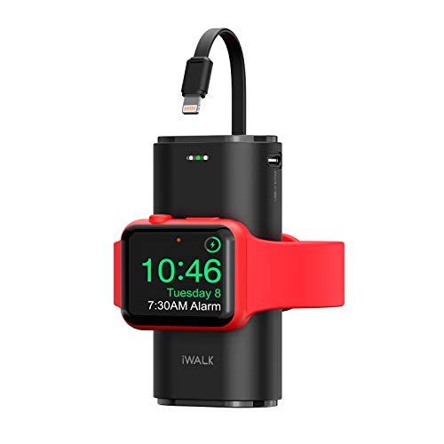iWALK Portable Apple Watch Charger, 9000mAh Power Bank with Built in Cable, Apple Watch and Phone Charger, Compatible with Apple Watch Series 6/Se/5/4/3/2, iPhone 13/12/12 Pro Max/ 11/X/6s, Black