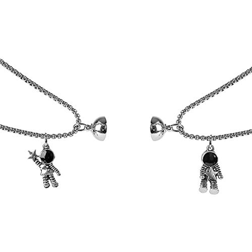 6Wcveuebuc 2 piezas de bonitos astronautas imán atracción colgante pareja collar de amistad joyería creativa Cool cadena collares para mujeres hombres regalo