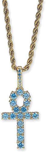 Yiffshunl Necklace Hip-Hop Necklace Aquamarine Zircon Pendant Necklace European Cross Pendant Fashion Couple Men and Women Accessories Original Simple Popular-Gold Necklace Gift
