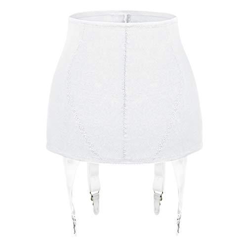 Slocyclub Strapsgürtel für Damen Sexy High Waist 4 Wide Strap Metallclip für Strümpfe mit hohem Oberschenkel(Weiß,XL)