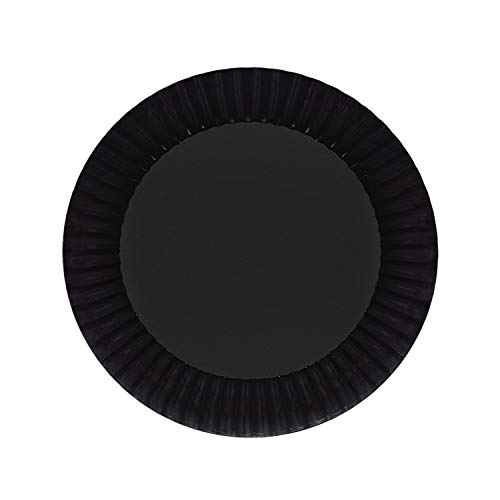 Party Essentials Deluxe Quality Hard Plastic 7.5-Inch Round Party/Salad Plates, Black, 24 Count