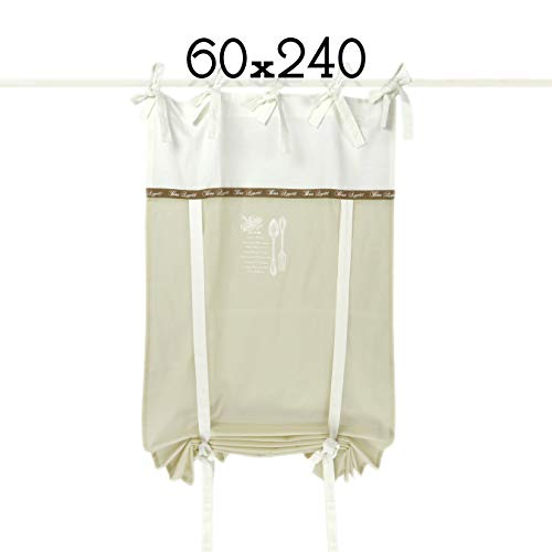 GLShabby Tenda Finestra Country Chic 60 x 240 Colore Bianco/Beige Chiaro