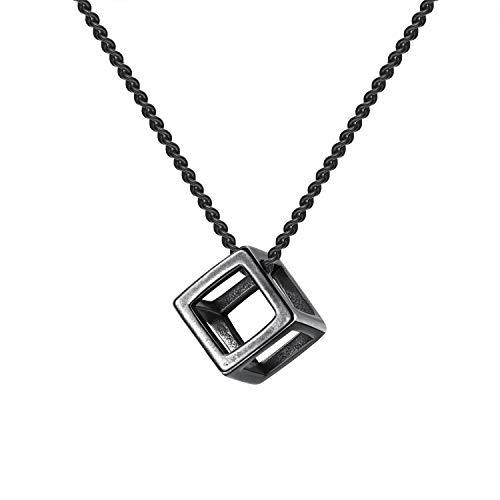 HIJONES Collar Colgante Cubo de Acero de Titanio para Hombres Hollow out Tridimensional Happy Cube Black