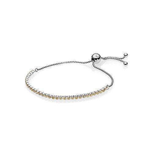 Pandora Muttertag Golden Sparkling Strand Damen Armband 925 Sterlingsilber, rhodiniert 23 cm