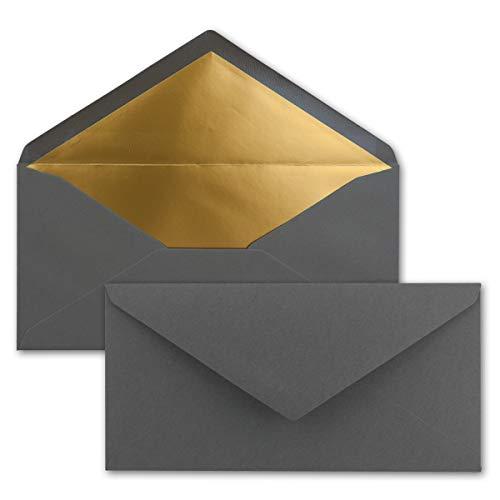 50 Brief-Umschläge DIN Lang - Anthrazit-Grau mit Gold-Metallic Innen-Futter - 110 x 220 mm - Nassklebung - Festliche Kuverts für Einladungen