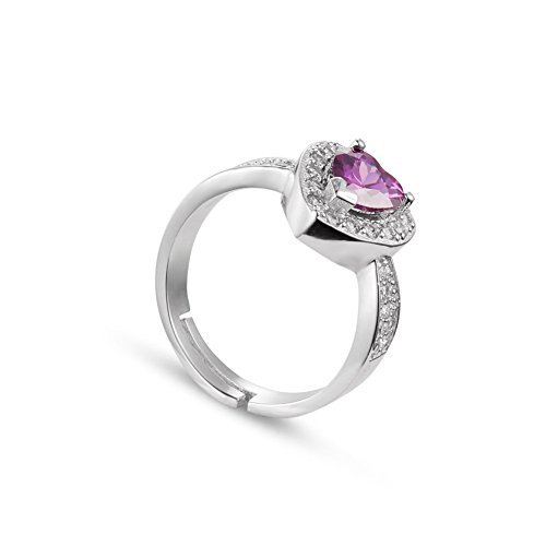 SHEGRACE Sweetiee Anelli Ametista Naturale, 925 Argento e Zirconia AAA Pave, Cuore, Platino,16.5mm