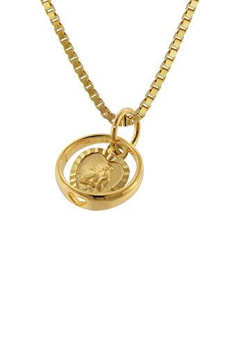 trendor Taufring mit Engel-Herz Gold 585 / 14K mit plattierter Halskette Taufschmuck für Mädchen, Jungen und Mütter, Geschenkidee zur Taufe 75260