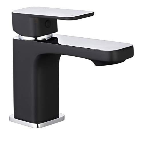 SCHÜTTE 43106 MADAGASKAR Waschtischarmatur mit Ablaufgarnitur, Mischbatterie mit Pop-Up Ventil, Badarmatur Waschbecken, Einhebelmischer Badezimmer, Wasserhahn Bad, Schwarz Chrom