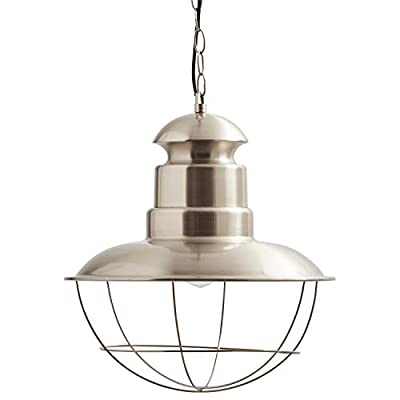 Stone & Beam Modern Industrial Caged Hanging Ceiling Pendant Fixture with Light Bulb - 15.75 x 15.75 x 46.375 Inches, Steel