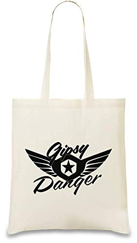 Josh God Apparel Gipsy Gefahr - Gipsy Danger Custom Printed Tote Bag| 100% Soft Cotton| Natural Color & Eco-Friendly| Unique, Re-Usable & Stylish Handbag For Every Day Use| Custom Shoulder Bags By