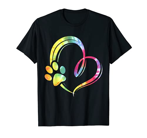 Aquarell Pfote Hunde Herz Design Hundeliebhaber T-Shirt