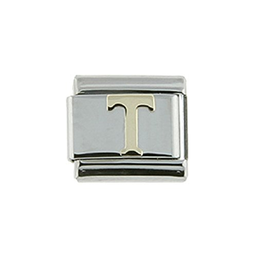 Sabrina Silver Stainless Steel 18k Gold Italian Charm Initial Letter T for Italian Charm Bracelets