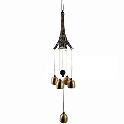 Lilone Gifts Eiffel Tower 4 Bells Copper Wind Chimes Church Home Yard Garden Hanging Decor