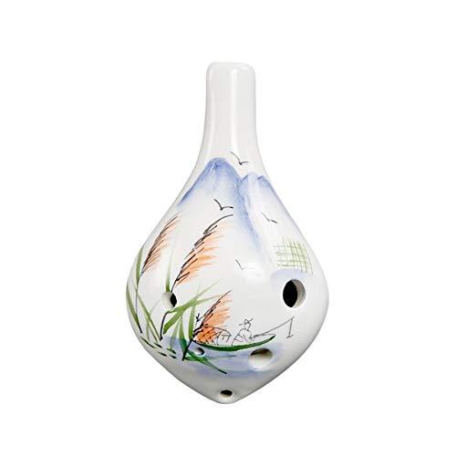 YUNGYE 6 Agujeros Botella de cerámica Ocarina Mano Alto C de Vino pintadas de Instrumentos Musicales con Correa de Cuenta de la música por Amante de la música y el alumno (Color : Army Green)