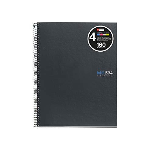 Miquelrius Basicos Mr 2121, Cuaderno A5 con Tapa de cartón compacto, 160 Hojas, Gris Antracita