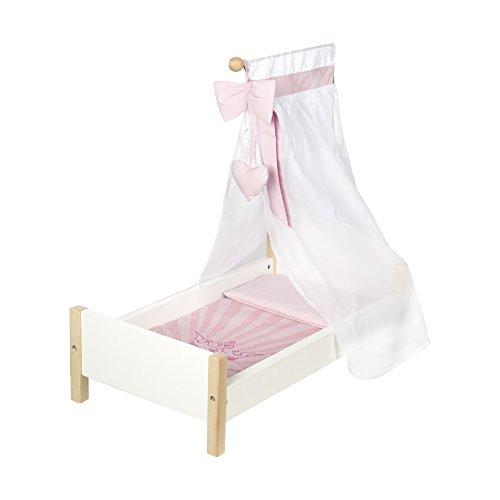 """roba Puppenbett aus Puppenmöbel Serie """"Scarlett"""", Puppenzubehör weiß lackiert, inkl. textiler Ausstattung, Bettwäsche und Himmel rosa"""