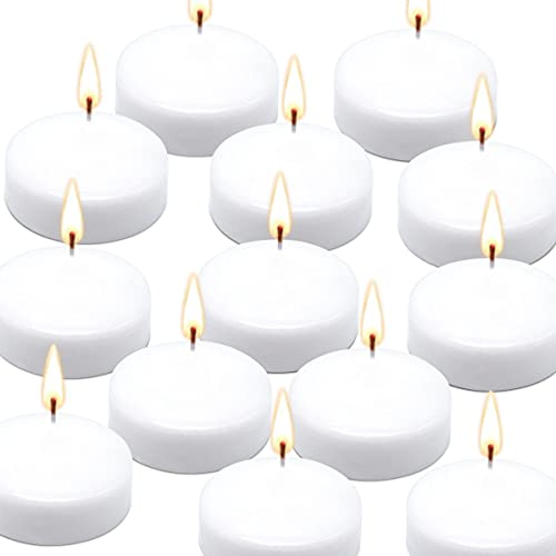 """TIANXI 10 Hour Floating Candles, 3"""" White Unscented Dripless Wax Discs, for Cylinder Vases, Centerpieces at Wedding, Party, Pool, Holiday (36 Set)"""