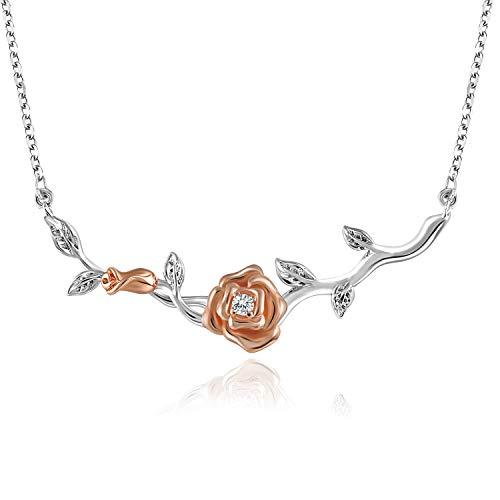 SNZM - Collar con Colgante de Flor de Plata de Ley 925 para Mujer en C