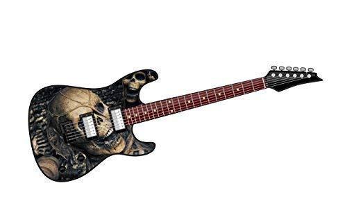 Cool Eléctrico Guitarra Diseño con Evil Calavera Horror Motivo Vinilo Pegatina Adhesivo...