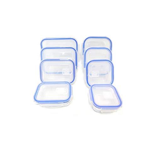 FIDON Taper vidrio Lotes 16 piezas (8 envase+8 tapas) de recipiente vidrio hermeticos Fiambrera de vidrio Tapper cristal redondo, cuadrado, rectagular, tamaños variados (Lote de 8 (variados))