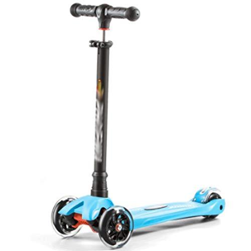 Antideslizante Scooter Patinete Niño Scooter de patadas de rueda súper ancha, scooter magnal de deslizamiento con ruedas de iluminación extra anchas y alturas ajustables para niños de 3-12 años Scoote