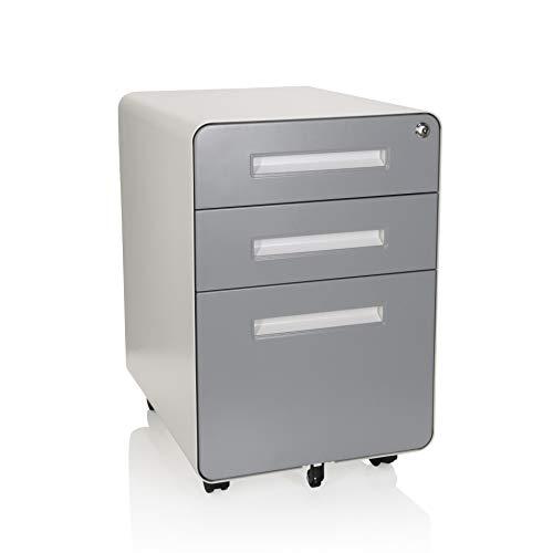 hjh OFFICE 743016 Rollcontainer Color Plus I Stahl Weiß/Grau Schubladenschrank mit Rollen, A4 Hängeregister, abschließbar