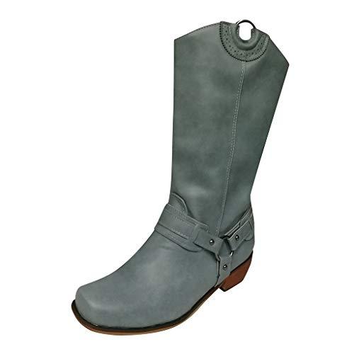 WHSHINE Damen Vintage Classic Biker Stiefel Mid Wide Calf Cowboystiefel Plain Toe Reitstiefel mit Schnallenriemen