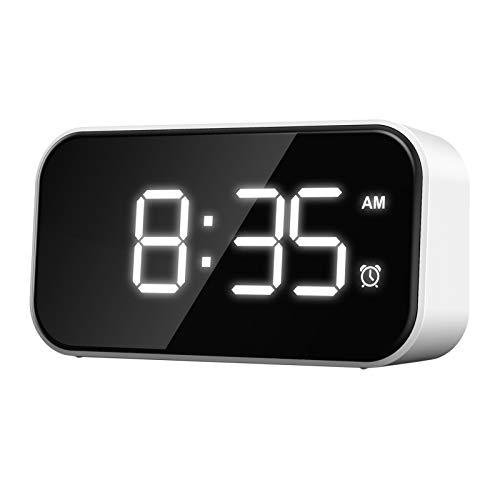 perfk Despertador Digital 5'Gran Pantalla LED Reloj Digital fácil de Leer y Ver Reloj Despertador Fuerte para Dormir Pesado - Carácter Blanco