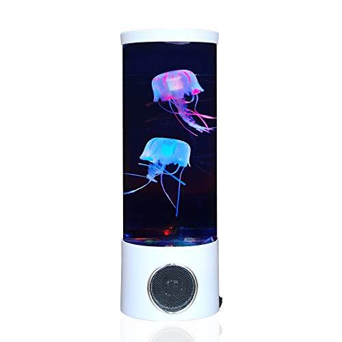 Quallen Lava Lampe Bluetooth-Lautsprecher mit 20 Farbwechsel Aquarium LED-Licht USB Electric Mood Lampe Große Dekoration Nachtlampen Tank Home Office Geschenk für Männer Frauen Kinder, Weiß