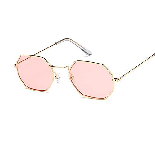 YUANBOO Gafas De Sol Cuadradas Mujeres Retro Moda Rosa Oro Gafas De Sol Femenino Vasos Transparentes Damas Ropa Accesorios (Lenses Color : Gold Pink)