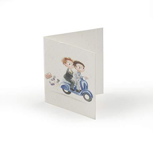 Mopec kaarten voor bruidegom, motorfiets, doos, blauw, 0,02 x 6,50 x 4,00 cm, 100 stuks
