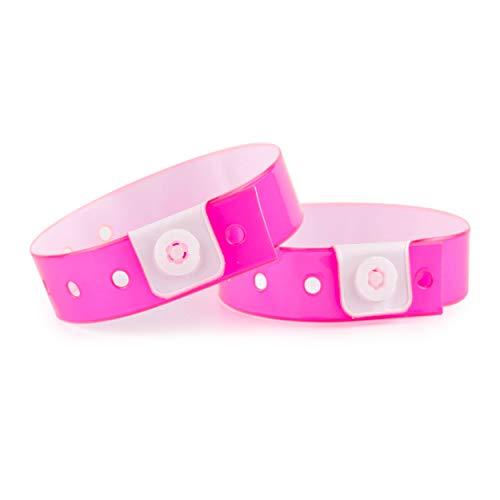 Set de 100 pulseras de plástico/vinilo para eventos, personalizables e impermeables (rosa neón)
