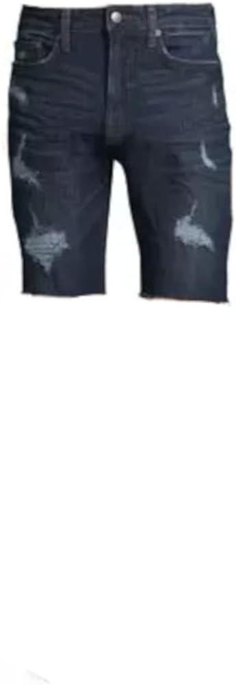 No Boundaries Men's Denim Shorts (38, Dark Wash)