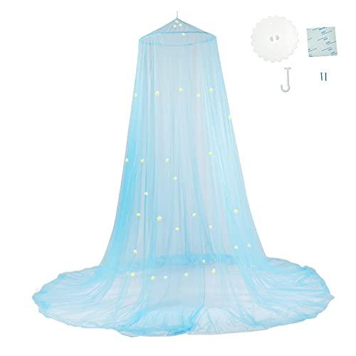 htovila Mosquito Net Cama de Lujo con Dosel Mosquitera Estrella Luminosa Color Azul Fluorescente con Diseño de Cúpula y Mosquitera de Fácil Adecuada para Bebés Niñas Adultos