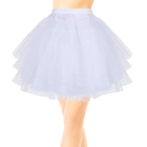 EQLEF Kurz Multi Schichten Tulle Petticoat Krinoline Unterrock für Mädchen Tüll Unterrock Underskirt Petticoat Rockabilly Frauen (Weiß)