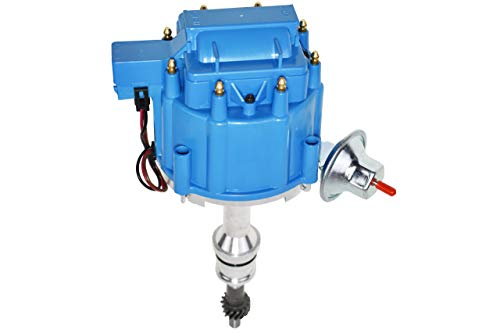 A-Team Performance Complete HEI Distributor 65K Coil 7500 RPM Compatible with Small Block Ford SBF 5.8 L 351W Windsor 8 Cylinder One Wire Installation Blue Cap