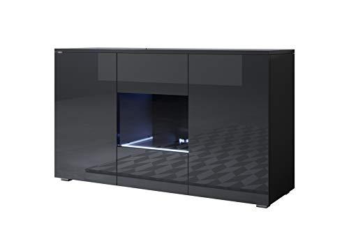 muebles bonitos Aparador Modelo Luke A2 (120x72cm) Color Negro con Patas estándar