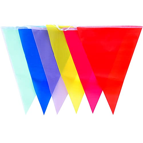 Bunting Flags Outdoor, Double Sided Polyester Bunting Fabric Multicolored Pennant Banners Garlands for Birthday Party Garden Decorations - 10 Meter Long 20 Flags