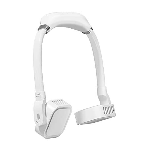 CHENPENG Ventilador de Cuello portátil, Ventilador de Cuello Personal Recargable por USB, Ventilador portátil Ligero de 360 °, con 3 velocidades, bajo Nivel de Ruido,Blanco