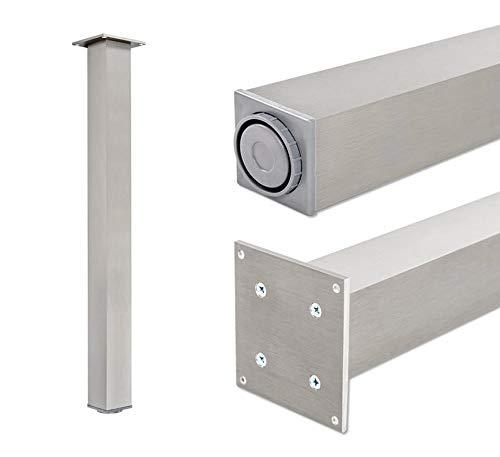 Pata extensibles de mesa, 100% aluminio | Sossai® Exclusivo E4TBGS | Perfil: plaza | Incluidos accesorios de montaje | 1 unidades | Altura regulable 710 mm + 20 mm