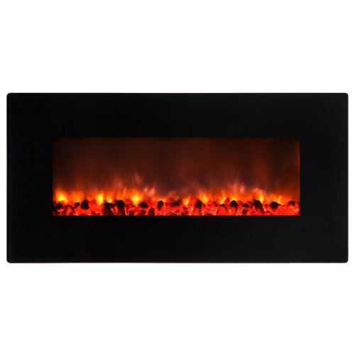 Yosemite Home Decor DF-EFP900 Small Glass Wall Hang Electric Fireplace, Faux Stone in Black Gloss -