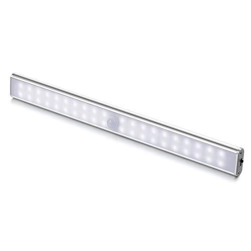 Luci LED Camera da Letto, 40 LED con Sensore di Movimento, Luci LED a Batteria con Striscia Magnetica Adesiva per Armadio, Scale, Corridoi, Cucina, Garage (1 Luce Bianca)